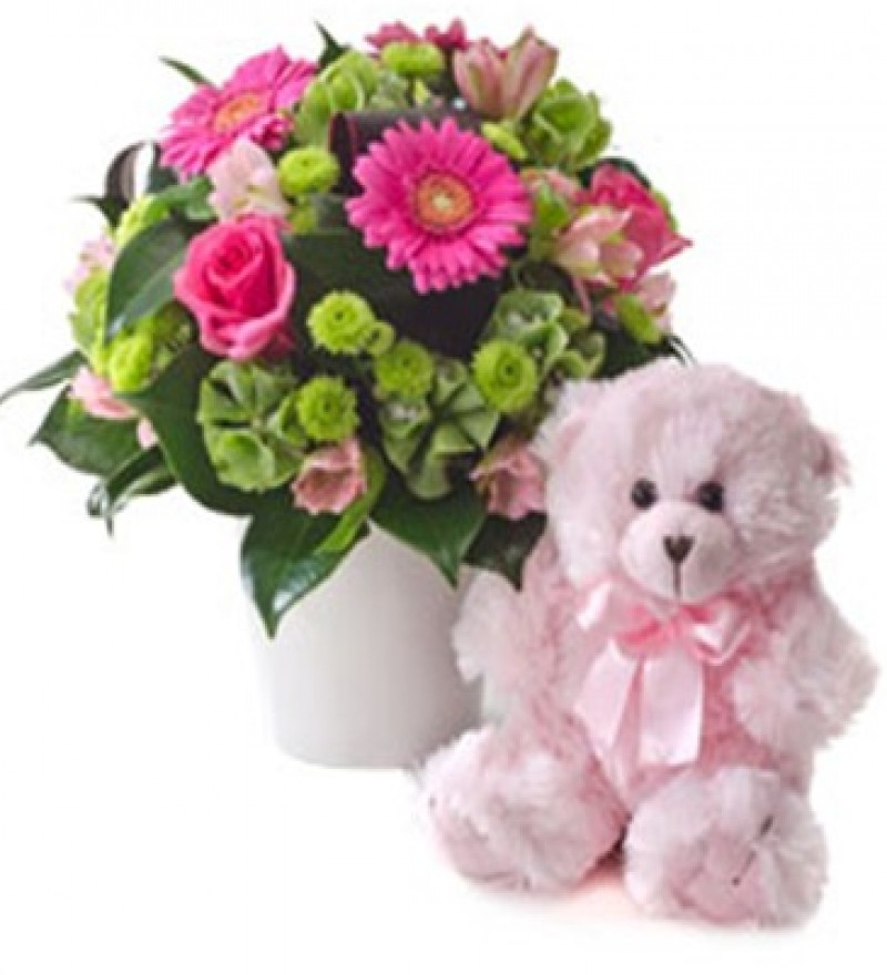 Sarniaflowers bright mixed arrangement with teddy bear - Flower teddy bear arrangement ...