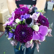Purple Dahlias in Wedding Bouquet